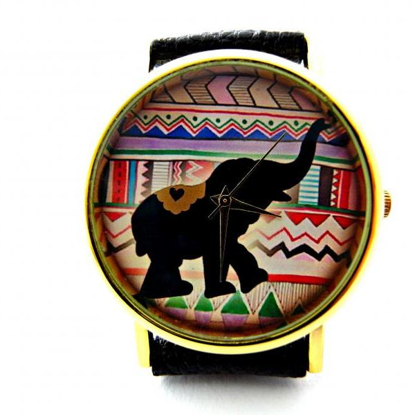 Elephant leather wrist watches, woman man lady unisex watch, genuine leather handmade unique watch #67