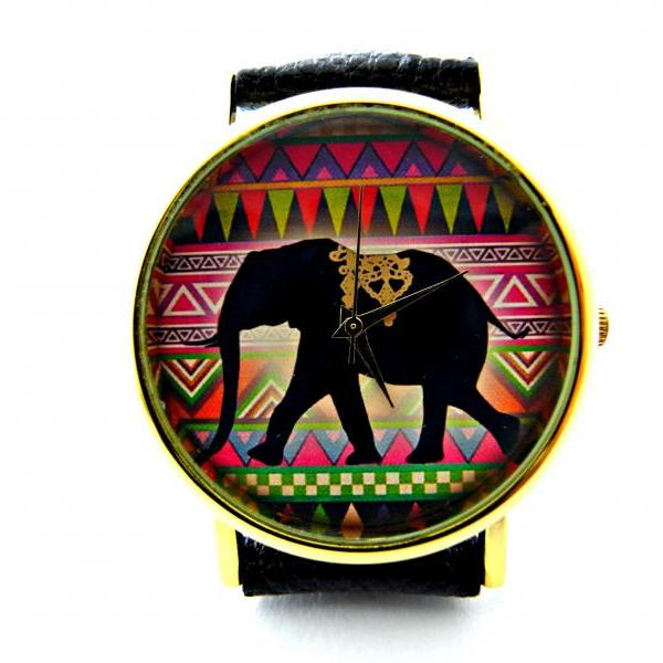 Elephant leather wrist watches, woman man lady unisex watch, genuine leather handmade unique watch #68